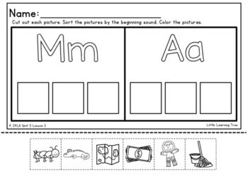 Kindergarten CKLA Unit 3 Beginning Sound Cut and Paste Sort