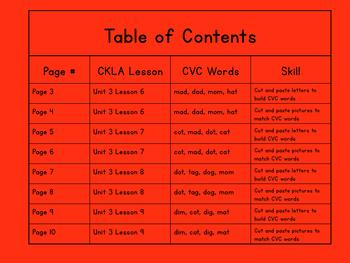 Kindergarten CKLA Skills Unit 3 CVC Cut and Paste Packet