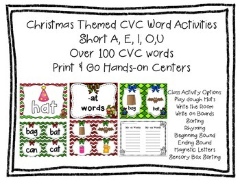 Kindergarten CVC Christmas Themed Activites