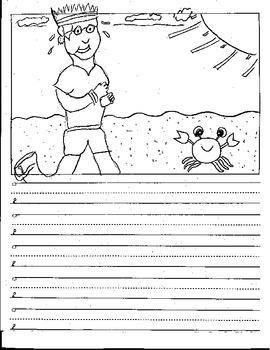 Kindergarten CVC Sentence Story Starters Picture Prompts Vowel Writing Paper