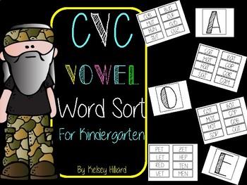 Kindergarten CVC Vowel Word Sort