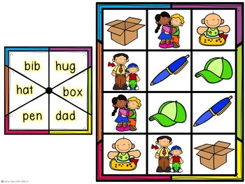 Kindergarten CVC Word Center - CVC Word Game - LIteracy Center
