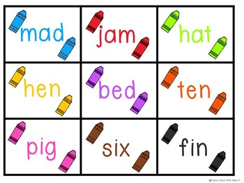 Kindergarten CVC Word Center - Rainbow CVC Word Literacy Centers