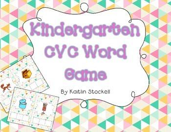 Kindergarten CVC Word Building Game for Literacy Station Fun!