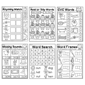 Kindergarten CVC Worksheet Packet