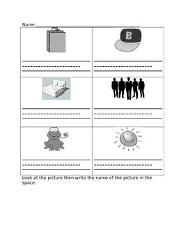 Kindergarten CVC worksheet