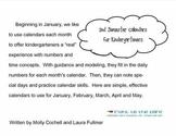 Kindergarten Calendar Activity Pages