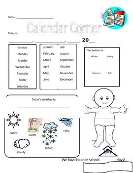 Kindergarten Calendar Center