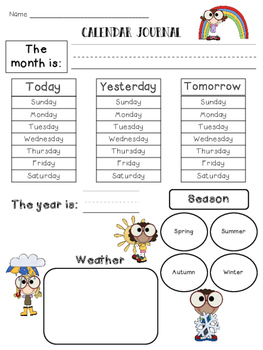 Kindergarten Calendar Journal For All Seasons UPDATED