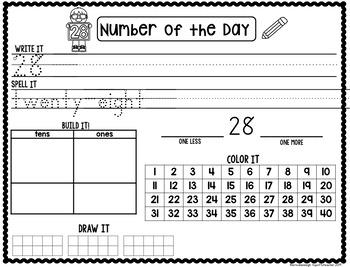 Kindergarten Calendar Journal & Number of the Day- TEKS Based