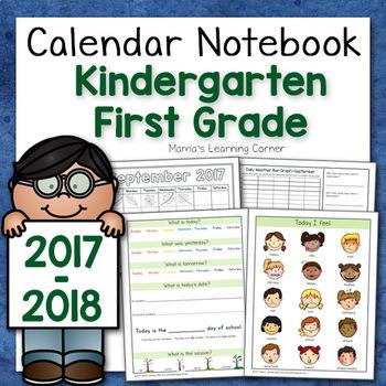 Kindergarten Calendar Notebook for 2017-2018