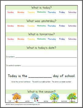 Daily Kindergarten Calendar Notebook for 2018-2019