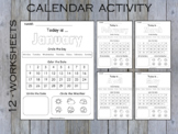 Kindergarten Calendar Worksheet Pages