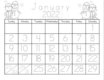Kindergarten Calendar/Math Journal Sheets Includes Blank and Prefilled 2017-2018