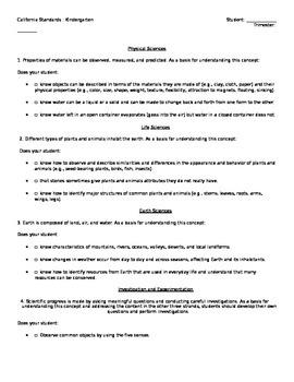 Kindergarten California Science Standard Checklist