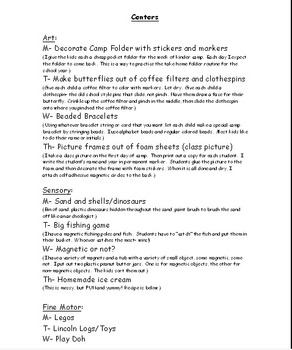 Kindergarten Camp Lesson Plans and Activities