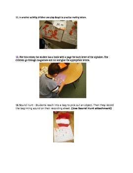 Kindergarten Center Activities with Printables