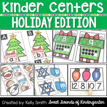 Kindergarten Centers {HOLIDAY Centers} Math & Literacy Centers