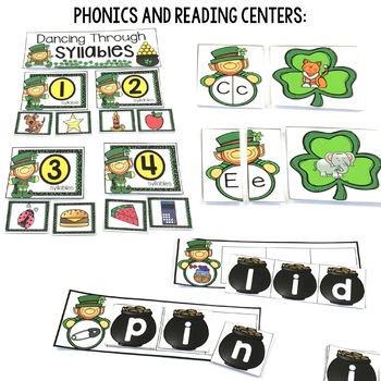 Kindergarten Centers {St. Patrick's Day Centers} Math and Literacy