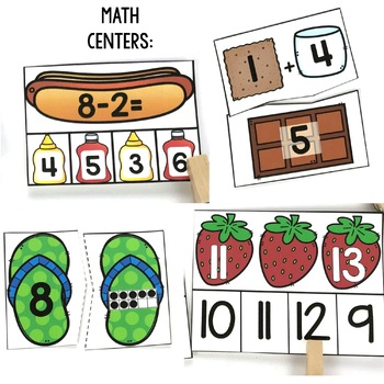 Kindergarten Centers {Summer Centers} Summer Math and Literacy