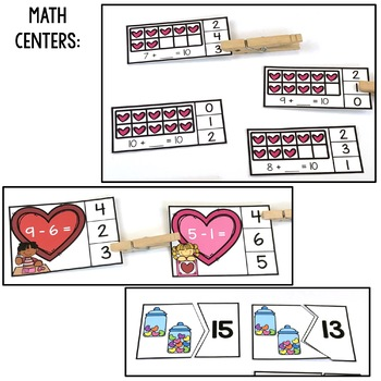 Kindergarten Centers {Valentine's Day Centers} Valentine's Day Math and Literacy