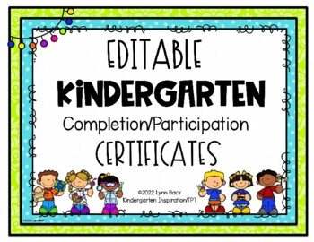 Kindergarten completion certificates editable teaching resources editable kindergarten graduationcompletion certificate editable kindergarten graduationcompletion certificate yelopaper Choice Image
