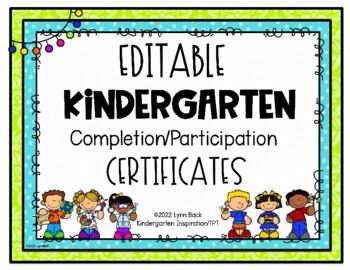 editable kindergarten graduation completion certificate tpt