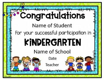EDITABLE Kindergarten Graduation/Completion Certificate