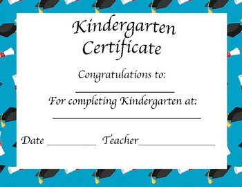 Kindergarten Certificate- Graduation/Stepping Up