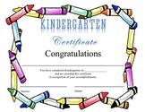 Kindergarten Certificate of Completion - Crayons