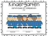 Kindergarten Certificate of Completion Diploma