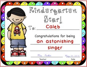Kindergarten Certificates  FREEBIE