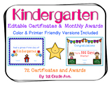 End of the Year Certificates & Kindergarten Awards for the Entire Year- Editable