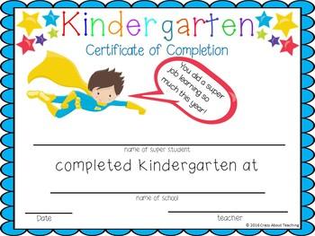 Kindergarten Certificates of Completion