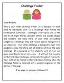 Kindergarten Challenge Folder