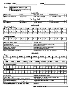 Kindergarten Checklist Report Card--aligned with Common Core