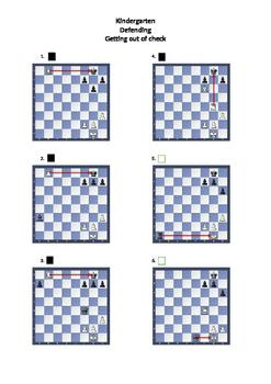 Kindergarten Chess - Defending Worksheet