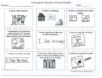 Kindergarten Child Friendly Narrative Rubric and Checklist