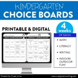 Kindergarten Choice Boards for Distance Learning!