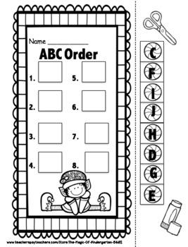 Kindergarten Christmas ABC Order~Freebie