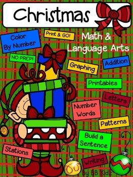 Kindergarten Christmas Activities for Math and Lang. Arts / No Prep. Just Print!