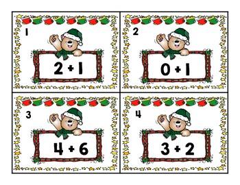 Kindergarten Christmas Addition Task Cards