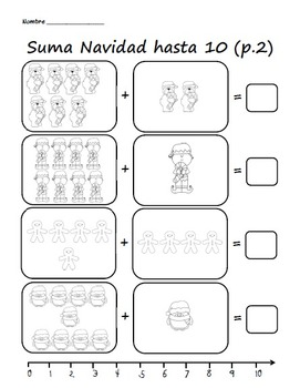 Suma Navidad / Kindergarten Christmas Addition Within 10 and 5 in Spanish
