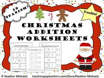 Suma Navidad / Kindergarten Christmas Addition Within 10 a