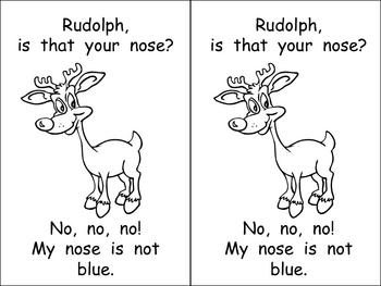 Kindergarten Christmas Emergent Reader- Rudolph's Nose- color words