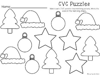 Kindergarten Christmas Literacy Center - CVC Words