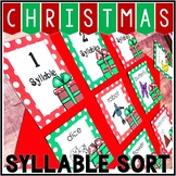 Kindergarten Christmas Literacy Center - Pocket Chart Center - Syllables
