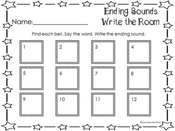 Kindergarten Christmas Literacy Center - Write the Room- Ending Sounds
