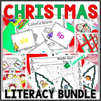 Kindergarten Christmas Literacy Centers- 6 December Reading Centers & Word Wall