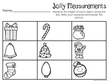 Kindergarten Christmas Math Center - Jolly Measurement